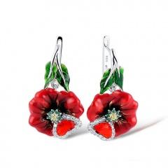 Peach blossom zircon handmade oil drop earrings earrings earrings earrings earrings earrings ER20Y0172