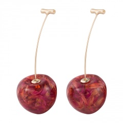 2020 Fashion Cute Red Cherries Fruit Earrings Japan Chic Cherry Dry Flower Long Dangle Drop Earring Party Jewelry Gifts Red Cherry-3