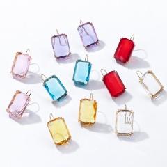 Fashion Square Rhinestone Hook Earrings Statement Shinning Alloy Stud Earring Jewelry Gift For Women Purple
