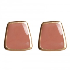 3 Colors Fashion Simple Painting Oil Enamel Earrings Alloy Gold Stud Earring Jewelry Gift Pink