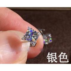 Simple Elegant Shinning Stud Earring Square Zircon Gemstone Silver Earrings Jewelry Silver