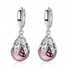 Fashion Silver Cat's Eye Stone Earring Gemstone Dangle Earring Jewelry Carved Stud Earrings Pink