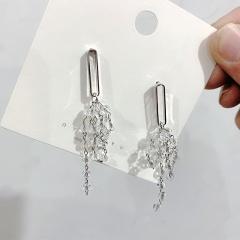 New Korean Earring Long Crystal Tassel Grape Earrings Female Advanced Sense Earring Fashion Jewelry For Women 2020 Silver Color