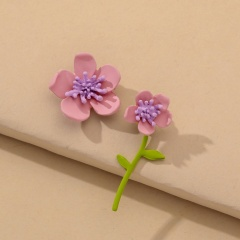 Cute Romantic Pink Yellow Flowers Earrings Contracted Japan South Korea Trendy Asymmetric Flowers Stud Earrings for Women pink