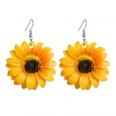 Sunflower Earrings Alloy Resin Yellow Daisy Sun Flower Jewelry For Women Trendy Cute Fashion Gift 1 Pair Sunflower