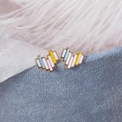 Lovely Rainbow Heart Shape Stud Earrings With Silver Color Drop Glaze Earring For Women Wholesale Heart-2