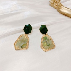 Korean Style Sweet Candy Color Starry Gravel Drip Earrings Geometric Irregular Shell Broken Stone Brincos Valentine's Day Gift Green