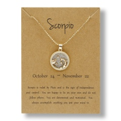 Fashion Gold Charm Necklace Daytime Twelve Constellation Paper Card Alloy Pendant Necklace Jewelry Scorpio