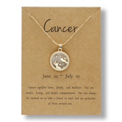 Fashion Gold Charm Necklace Daytime Twelve Constellation Paper Card Alloy Pendant Necklace Jewelry Cancer