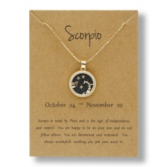 Fashion Gold Charm Necklace Day Night Twelve Constellation Paper Card Alloy Pendant Necklace Jewelry Scorpio