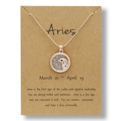 Fashion Rose Gold Charm Necklace Daytime Twelve Constellation Paper Card Alloy Pendant Necklace Jewelry Aries