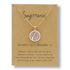 Fashion Rose Gold Charm Necklace Daytime Twelve Constellation Paper Card Alloy Pendant Necklace Jewelry Sagittarius