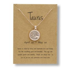 Fashion Rose Gold Charm Necklace Daytime Twelve Constellation Paper Card Alloy Pendant Necklace Jewelry Taurus