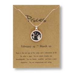 Fashion Rose Gold Charm Necklace Black Night Twelve Constellation Paper Card Alloy Necklace Pisces
