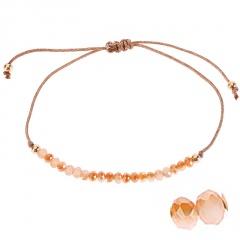 Bohemian Colorful Crystal Beads Bracelet Ethnic Adjustable Rope Bracelets for Women Girls Friendship Bracelet Charm Jewelry Gift brown-1