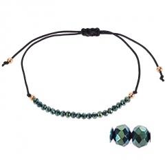 Bohemian Colorful Crystal Beads Bracelet Ethnic Adjustable Rope Bracelets for Women Girls Friendship Bracelet Charm Jewelry Gift light green