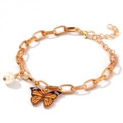 Fashion Imitation Pearl Chain Butterfly Pendant Bracelet yellow