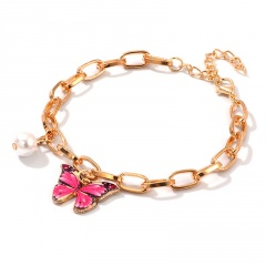 Fashion Imitation Pearl Chain Butterfly Pendant Bracelet pink