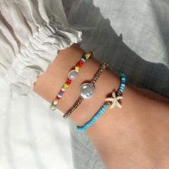 3 pcs/Set Five-pointed Star Pearl Colorful Beads Bohemian Elastic Bracelet Bracelet Set