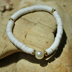Pearl Alloy Soft Clay Beach Bohemian Elastic Bracelet white