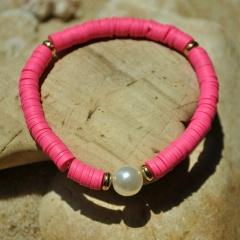 Pearl Alloy Soft Clay Beach Bohemian Elastic Bracelet rose red