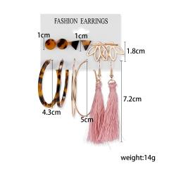 Pendientes de borla de acrílico Vintage de rinhoo para mujer, conjunto de pendientes bohemios, Pendientes colgantes grandes, joyería de moda 2020 para mujer 2