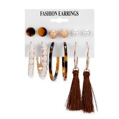 Pendientes de borla de acrílico Vintage de rinhoo para mujer, conjunto de pendientes bohemios, Pendientes colgantes grandes, joyería de moda 2020 para mujer 6
