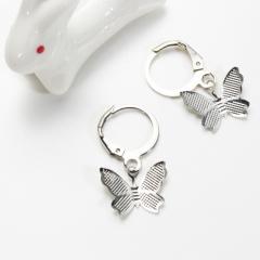 Alloy Butterfly Earrings Simple Fashion Eardrop silver