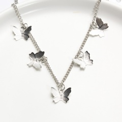Simple Alloy Butterfly Pendant Necklace Jewelry Gift 5pcs silver