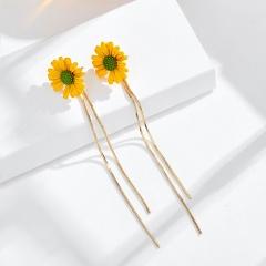 Long tassel and small Daisy stud earrings yellow