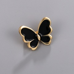 Little Butterfly Painting Oil Brooch Black