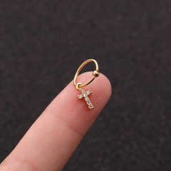 Gold Plated Crystal0 Earrings Nose Rings For Women Cross