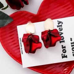 Red Rose Petal Long Acrylic Stud Earrings 1#11829