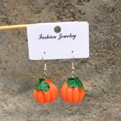 Artificial Fruit And Vegetable Resin Ear Hook Earrings Pumpkin