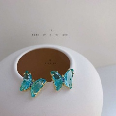 Crystal Butterfly Stud Ring Necklace Blue earrings
