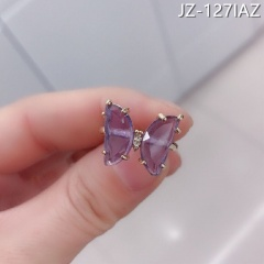 Transparent crystal butterfly ring Purple