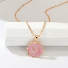 Regular circle geometry painting oil necklace Pink
