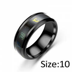 Temperature Ring Titanium Steel Mood Emotion Feeling Intelligent Temperature Sensitive Rings black 10