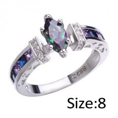 Shiny Heart Oval Zircon Wedding Female Bride Finger Rings Jewelry oval 8