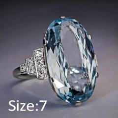 Silver Blue Crystal Stone Metal Rings Wholesale 7