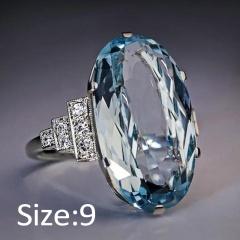Silver Blue Crystal Stone Metal Rings Wholesale 9