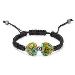 Heart Shaped Morano Glass Flower Woven Bracelet Green - black rope