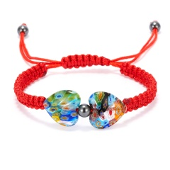 Heart Shaped Morano Glass Flower Woven Bracelet Color - red rope