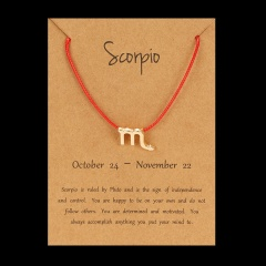 Red Rope Symbol Version Of The 12 Zodiac Braided Paper Card Bracelet Scorpio
