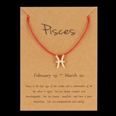 Red Rope Symbol Version Of The 12 Zodiac Braided Paper Card Bracelet Pisces