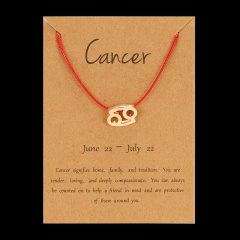Red Rope Symbol Version Of The 12 Zodiac Braided Paper Card Bracelet Cancer