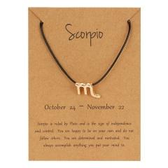 Black Rope Symbol Version Of 12 Constellations Woven Paper Card Bracelet Scorpio
