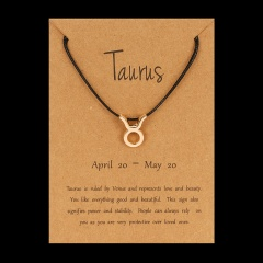 Black Rope Symbol Version Of 12 Constellations Woven Paper Card Bracelet Taurus