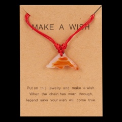 Jade dolphin pendant paper card necklace Red