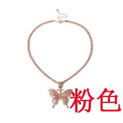 Big butterfly pendant necklace set with diamond Pink